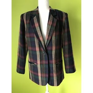 Sag Harbor Plaid Buttoned Suit Blazer XL